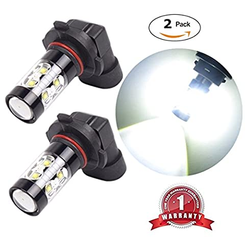 FlashWolves Extremely Bright Max 50W High Power H10 9145 9140 LED Bulbs with projector for DRL or Fog Lights, Xenon White 6000K (Pack of - 9145 Bulb