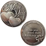 LUCKY COIN SENTIMENTAL GOOD LUCK COINS ENGRAVED MESSAGE KEEPSAKE GIFT SET CHARM (I Love You 2)