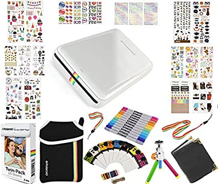 factory price ed2f9 ab6a2 Polaroid ZIP Mobile Printer Gift Bundle ZINK 9 Unique Colorful Sticker Sets  Pouch Twin Tip Markers Accessories