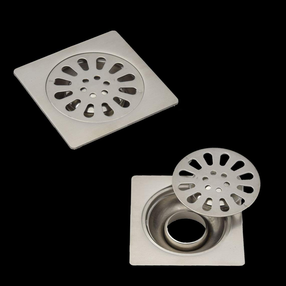 LDEXIN 2pcs 100mm/3.9'' Stainless Steel Square Bathroom Shower Insert Floor Drain with Removable Strainer Cover Chrome Finish for Kitchen, Washroom,Garage, Balcony and Basement