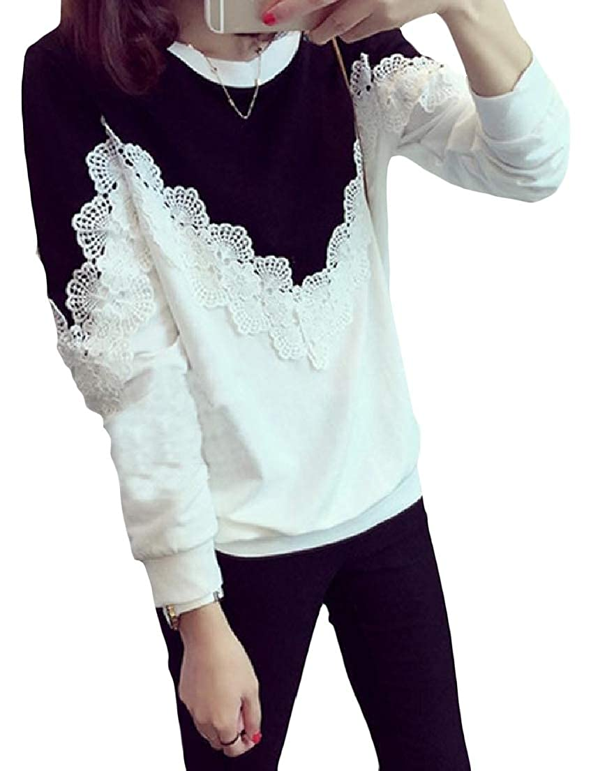 Vska Womens Crew Neck Long-Sleeve Patched Lace Contrast Pullover Sweatshirt