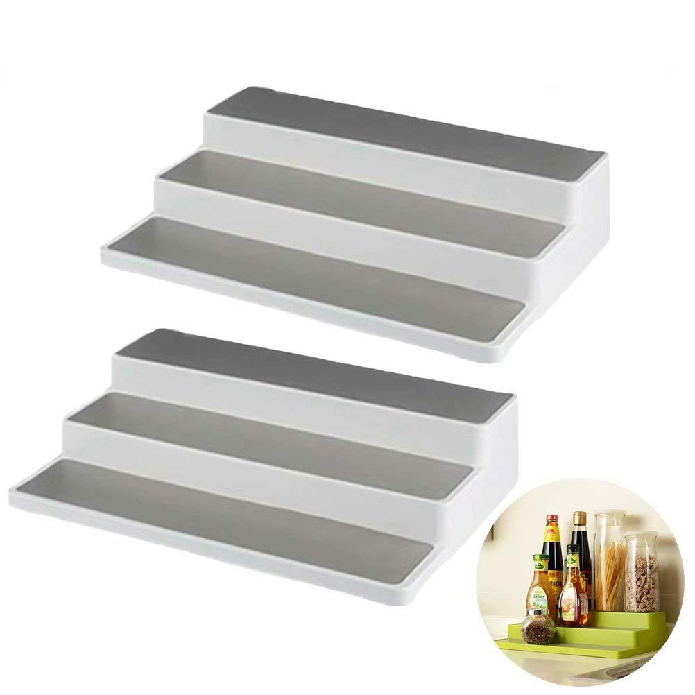 XHSP 2 Pack 3-Tier Non-Skid Cabinet Shelf Organizer Spice Pantry Cabinet Organizer Rack 14.6 × 9.5 × 3.3 Storage Organizer for Kitchen Bathroom