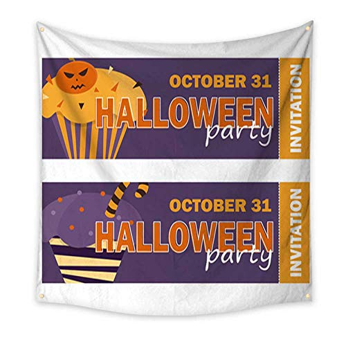 Decor Tapestry Background with Halloween Cupcake Invitation to Party Large tablecloths Wall Tapestry 32W x 32L Inch ()