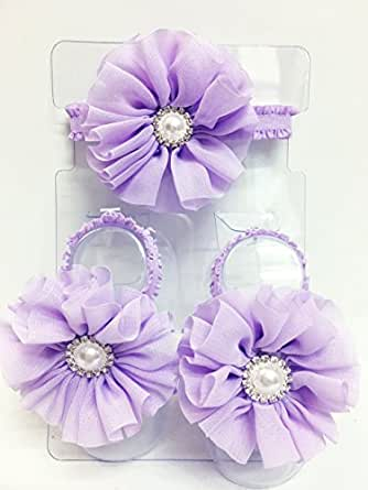 ad79951f133d4a Image Unavailable. Image not available for. Color  Infant Jeweled Purple  Flower Petals Open Sandals ...