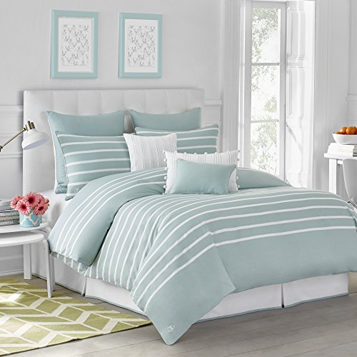 CAPRI STRIPE DUVET COVER BY JILL ROSENWALD - King, Cotton, Soft, Reversible, Patterned, Graphic, Modern Bedroom - King, Seaside Aqua by Jill Rosenwald