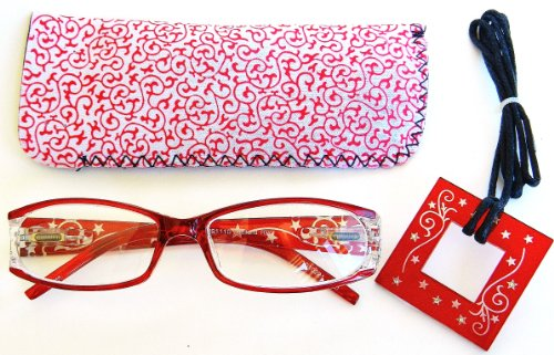 - (+ BONUS) Foster Grant (+2.00) Clear Red Reading Glasses with Rhinestones & Case (59)+ FREE BONUS MICROFIBER CLEANING CLOTH