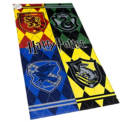 Terry Harry Potter Towels - Harry Potter Beach Towel Hogwarts Houses Crest 28 x 58 inches 100% Cotton