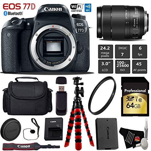 Canon EOS 77D DSLR Camera with 18-135mm is USM Lens + Flexible Tripod + UV Protection Filter + Professional Case + Card Reader - International Version