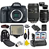 Canon EOS 7D Mark II DSLR Camera + Canon 18-55mm IS STM + Tamron 70-300mm + Kit Includes, 0.43X Wide Angle Lens + 2.2x Telephoto Lens + 2Pcs 32GB Commander MemoryCard + Battery Grip + Extra Battery