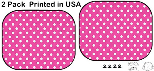 Liili Car Sun Shade Protector Block Damaging UV Rays Sunlight Heat for All Vehicles, 2 Pack The White Polka dot with Pink Background (Pink Polka Dot Backgrounds)