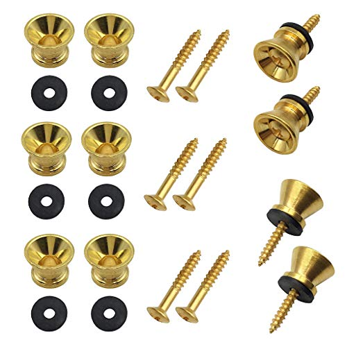 Pakala66 Metal Strap Lock Buttons End Pins with Mounting Screws For Electric Acoustic Guitar, Bass, Ukulele Pack of 10-Gold