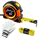 Tape Rule 25-Feet Measuring Tape with Magnetic End / 120-Inch Long Flexbile Soft Tape Measure With Bonus a Pair of Glove
