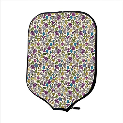 iPrint Neoprene Pickleball Paddle Racket Cover Case,Cartoon,Colorful Undersea Ocean Creatures Shells Fish Tube Moss Hand Drawn Circles Image,Multicolor,Fit for Most Rackets - Protect Your Paddle -