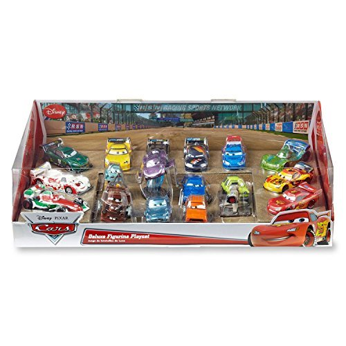 """Speed Away Disney Cars Deluxe-17-pc. Figure Set-Measure 2.5"""" Tall Each-Stationary Cars-Bright Colors-Detailed Characters-Molded Plastic"""
