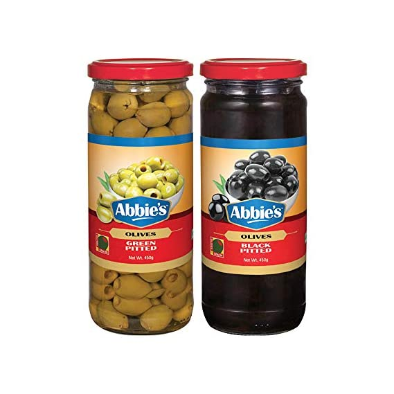 Abbie's Black Pitted Olives + Green Pitted Olives 450g, Pack of 1 Each, Product of Spain