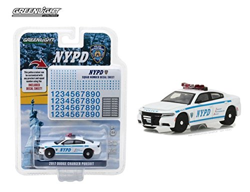 Scale Die Cast Decal Sheet - NEW 1:64 GREENLIGHT HOT PURSUIT COLLECTION - White 2017 Dodge Charger NYPD with Decal Sheet Diecast Model Car By Greenlight