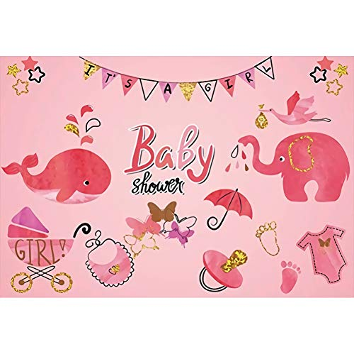 Renaiss 5x4ft Baby Shower Backdrop Pink Whale Elephant Baby Carriage Butterfly Baby Shower Party Girls Children Family Birthday Party Decor Background Portrait Photo Shoot Studio Props ()
