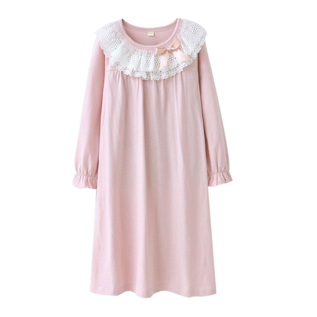 3-8 Jahre Alt Lace & Bowknot Nachthemden Frühling Herbst Pyjamas Kleine Mädchen Nette Prinzessin Nighties Langarm Nachtwäsche Kleid Shirts B180601KP2-lu