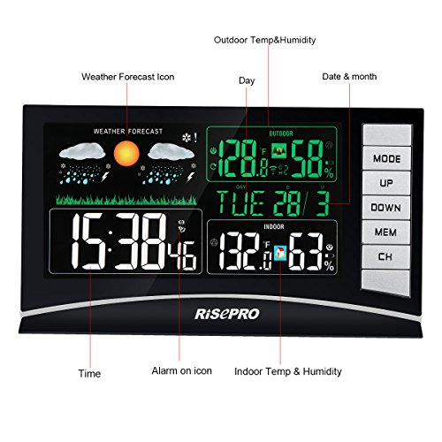 RISEPRO Weather Station, Wireless Weather Station with 3 Sensors in/Out Temperature and Humidity Alarm Clock Calendar Weather Forecaster with Color Led Display RP-WS2003 by RISEPRO (Image #1)