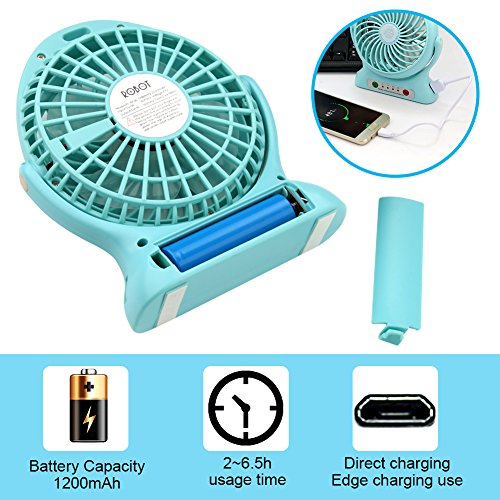 Accmor USB Mini Outdoor Portable Fan with Power Bank and LED Light Table Office Fan with 2000mAh Rechargeable Battery, Personal Portable Fan, Desktop Fan Blue by accmor (Image #5)