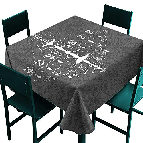 Glifporia Restaurant Table Cover Vintage,Victorian Baroque Stylized Nostalgic Chandelier on Damask Background Rococo Design,Grey White,W70 x L70 Square Tablecloth ()