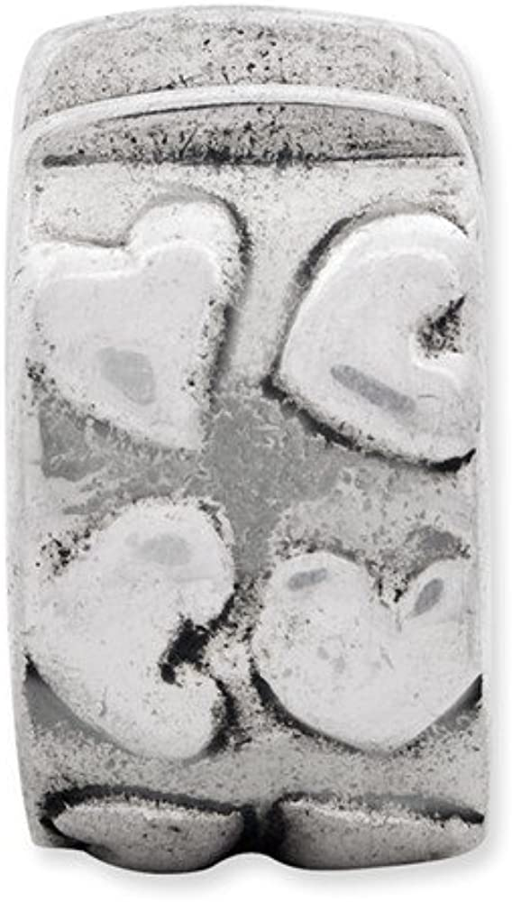 Sterling Silver Reflection Hinged Hearts Clip Solid Gripper Bead