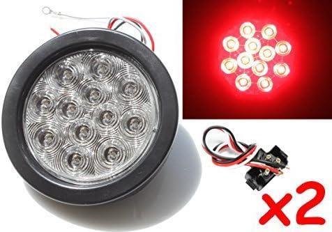 2 Red 4 Round LED Brake//Stop//Turn//Tail Light Kit with Grommet Plug Clear Lens KL-25108C-RK