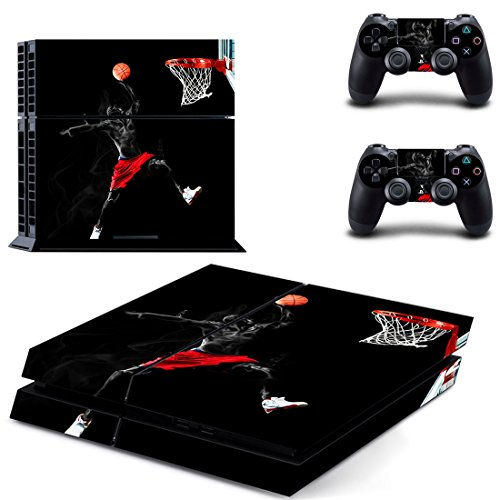 L'Amazo Protective Sony Playstation 4 Skins Bundle Set of Sticker Vinyl decals for console and Ps4 controller silicone cover cases in Gift Box Gamer Kit Basketball Design