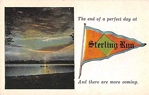 Sterling Run Pennsylvania ? Greetings Pennant Flag Scenic View Postcard JE229621