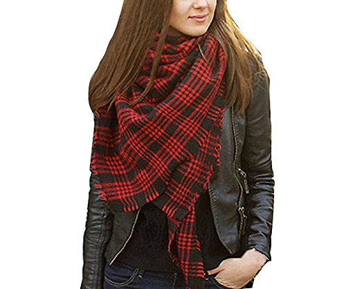 Women's Oversized Winter Warm Plaid Striped Shawl Wrap Scarf with Fringe (Y-Dark Red)