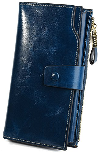 YALUXE Women's RFID Blocking Large Capacity Luxury Wax Genuine Leather Clutch Wallet Multi Card Organizer Blue