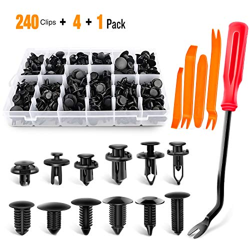 GOOACC 240PCS Bumper Retainer Clips Car Plastic Rivets Fasteners Push Retainer Kit Most Popular Sizes Auto Push Pin…