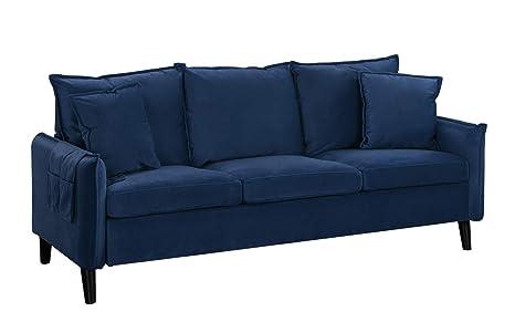 Modern Living Room Brush Microfiber Sofa (Navy)
