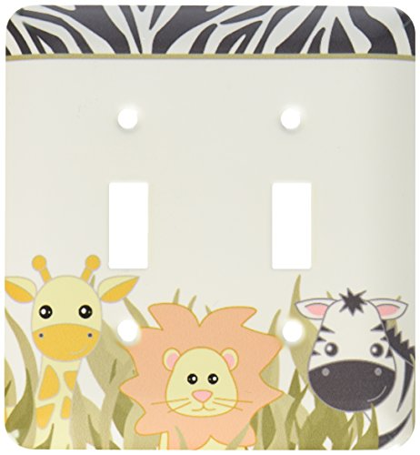 3dRose LLC lsp_128530_2 Cute Baby Jungle Animals On White Giraffe Lion Zebra Double Toggle Switch by 3dRose