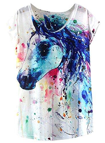 Doballa Women's Graphic Horse Print Tee Short Sleeve Causal Pullover T Shirt Tops