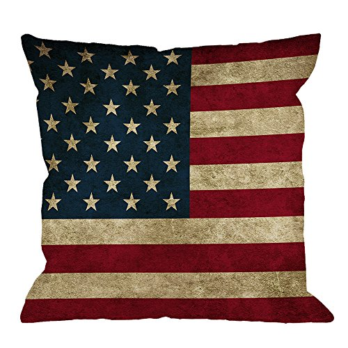 HGOD DESIGNS Throw Pillow Case USA American Flag Cotton Linen Square Cushion Cover Standard Pillowcase for Men Women Home Decorative Sofa Armchair Bedroom Livingroom 18 x 18 inch