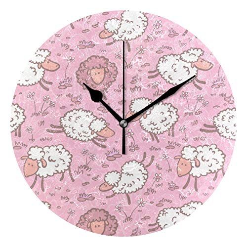 Amazoncom Jacksonnd Blithed Pink Soft Chic Sheep Round Wall Clock