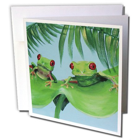 3dRose 2 Tree Frogs on a Big Palm Leaf - Greeting Cards, 6 x 6 inches, set of 12 (gc_44372_2)