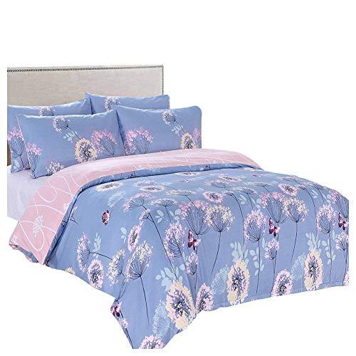 Slashome Duvet Cover Queen, 3 Pieces Grand Elegant Blue Floral Printed Dandelion Microfiber Bedding Set