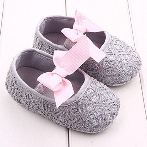 Culater Bebé Zapatos Zapatilla Antideslizante Suela blanda (0~18 meses) Gris