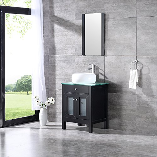 Bestmart INC 24'' Bathroom Vanity Cabinet Ceramic Vessel Sink Basin Faucet Mirror and Free Drain (24' Vanity Mirror Bathroom)