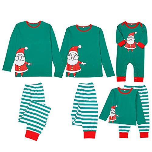 Santa Claus Family Matching Christmas Pajamas Set,Crytech Infant Baby Romper Cartoon Top Striped Lounge Pant for Women Men Children Xmas Holiday Sleepwear Pjs Outfit Clothes (3-6 Months, Newborn)
