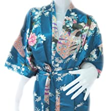 """eThai"" BATHROBE PEACOCK KIMONO WOMEN'S SATIN SILK ROBE-ONE SIZE"