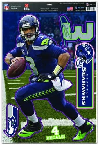 11x17 la Couleur de l/équipe Wincraft NFL Seahawks Russell Wilson Feuille de d/écalcomanie /à usages Multiples