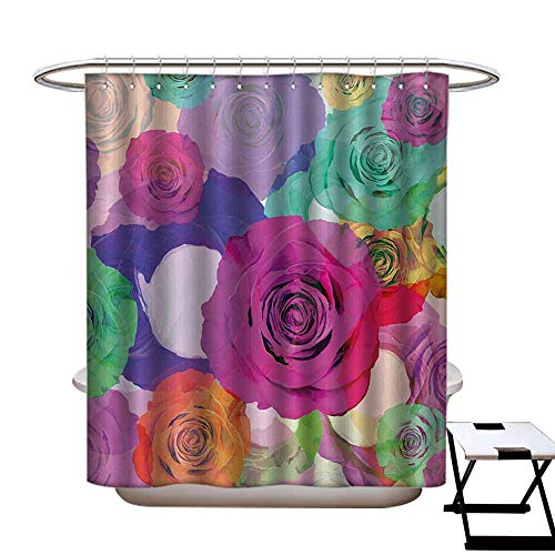 BlountDecor Art Shower Curtain Collection by Love Valentines Floral Arrangement with Vivid Roses Nature Flowers Botany Print Patterned Shower Curtain W36 x L72 Magenta Turquoise