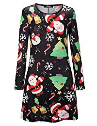 Womens Mini Dresses Christmas Trees Xmas Santa Snowman Reindeer Ladies Swing Top