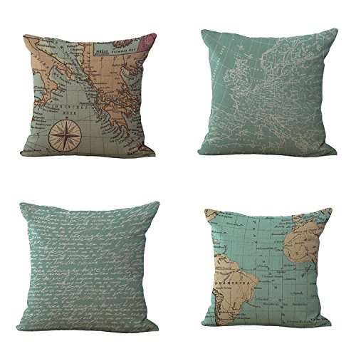 Uther 4-Pack Beautiful Fashionable Design Square Decorative Throw Pillow Case Cushion Cover World Map Pattern (Set of 4) Club Length Ruler