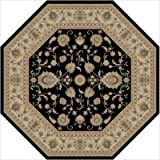 "Kashmir Black Oriental Octagon Rug Size: Octagon 7'10"""