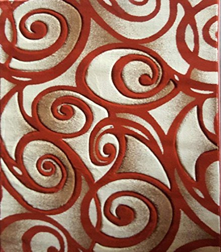 Contempo Modern Area Rug Contemporary 400,000 Point Abstract Terra Cotta Orange Design 341 (5 Feet 2 Inch X 7 Feet 3 Inch) - Terra Cotta Sculpture