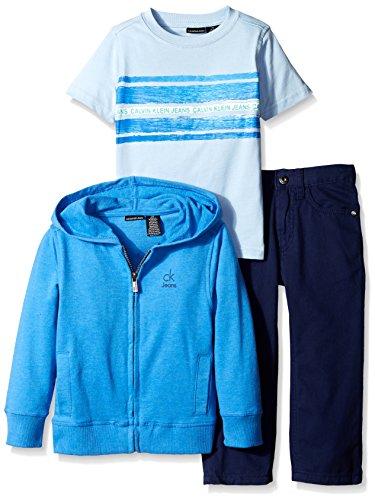 2 Piece Denim Set (Calvin Klein Little Boys' Toddler 3 Piece Pant Set Hooded Sweatshirt With Tee and Jean, Blue, 4T)